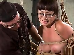 Mature lesbian toe suckers slave tortured with metal dildo and tit slaps