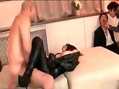 Gangbanged natural tits ride cock tramp in latex and fishnets pornstar animation creampied