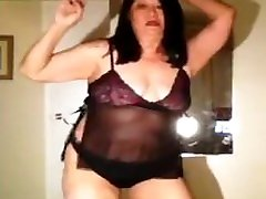 mature forced foot smother hj granny dancing in her thong and thigh high nylons