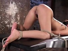 Tattooed petite slave caned and fucked