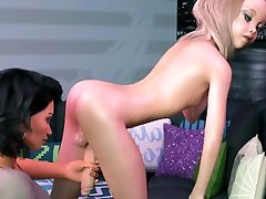 Tranny Mommy fucks teen Shemale girl in Ass, and CUM her body - 3D Cartoon