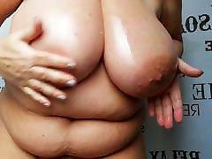 BBW Granny oiled her awat bokane saggy Tits