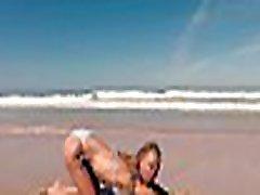 TRAVEL SHOW ASS DRIVER - Ferrol. Sasha Ð'ikeyeva in a bikini on beautiful Spanish Doninos beach