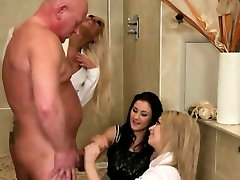 A group of rough euro CFNM matures sharing cock