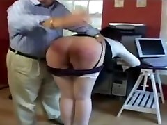 Secretary spanked,caned&caned on her hands by her boss