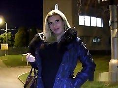 Euro big fake maggie joi flashing in public at night