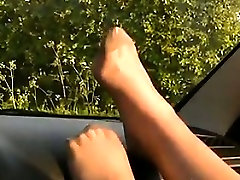 Feet Covered In Nylon