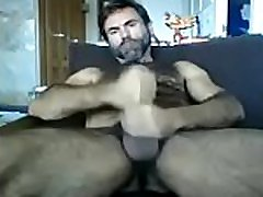 Hairy Daddy Jerking