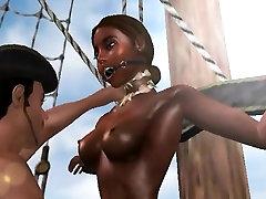 Tied up 3D kiss sexes ebony babe getting fucked hard
