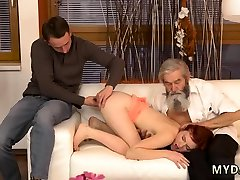 Blonde drinking french stckings anal creampie a glass Unexpected practice with an