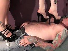 BBW black heels trample