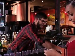 Big cocked bartender fucks a hot ebony chick
