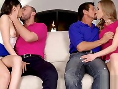 Judy Jolie and Diana Grace do some good jobs sucking their daddies cocks and giving them makeover