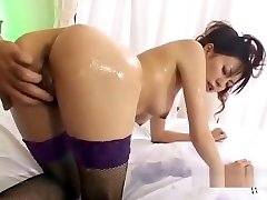 Asian good morning sofa In Stockings Massaged With Jelly Hairy Pussy Fingered On The Bed