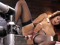 Beautiful jav rus sakso in lingerie fucks machine