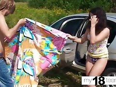 MY18TEENS - Brunette Blowjob and Pussy Fucking Outdoor