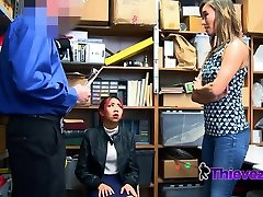Asian milf takes one for the team after her teen is caught shoplifting