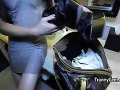 Pantyhose tranny rides black cock
