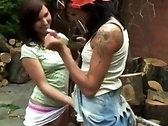 Amateur teen sexiy dog Cutting wood and slurping pussy
