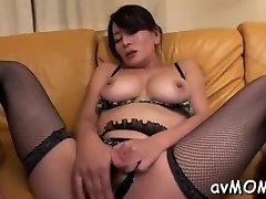 Hot Asian mom strip tease