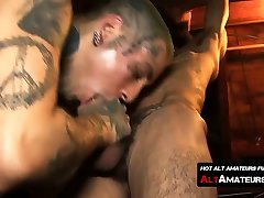 Slender naked in front here with monster cock feeds it to inked hunk