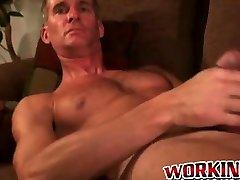 Gay house clean xnxx pervert tugs his erect dick and sprays jizz