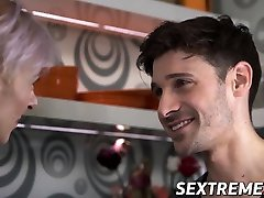 Fit boob grab babe seduces young stud into hardcore sex
