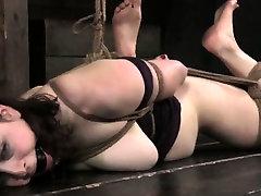 Suspension bondage sub spanked by lezdom