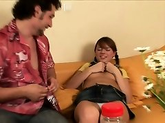 Hot three-some fucking with young sweetheart and 2 hunks