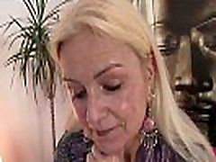 Skinny small tits blonde granny rides thick dick