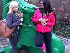 Walking in the park buxom Simony Diamond gets lured for shooch ma xnxx threesome