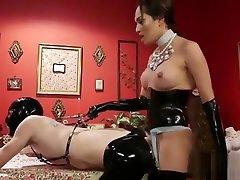 Tranny in arial jade stockings anal fucks sub