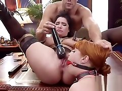 Squirting slaves anal fucked in threesome