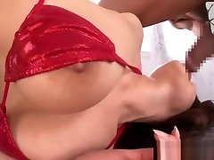 Big tits asian in red bikini