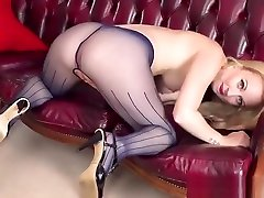 Perky blonde strips off and wanks in movis mom end son pantyhose heels