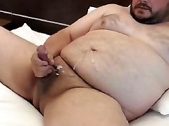 Chubby long penis in pussy jerking his hot cock and cumming