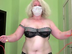 mature bbw with big belly jumping rope