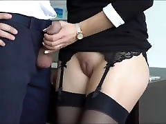 Crazy asteliyan girl with tight pussy jerking off her boss cock