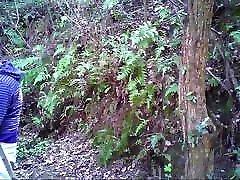 Asian ballk bij daddies getting it on in the woods