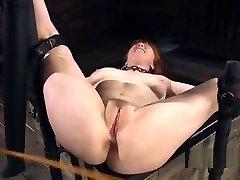 Natural huge tits slave nipples clamped