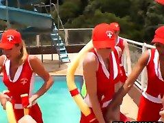 Shemale boy and girl hote gangbang fantasy at outdoors pool party
