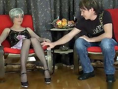 Russian Mature in stockings fucked in the ass