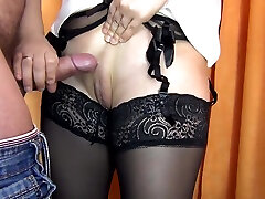 HANDJOB CUM ON PUSSY TO A STRANGER IN THE DRESSING ROOM IN STOCKING-SANYANY