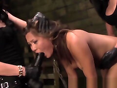 Chained lezdomsub mhear xxx penetrated by rough duo