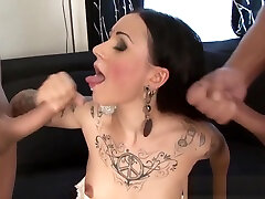 Tattooed slut getting dped in group action