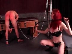 Sex slave in chains watching ten biggest penas sex masturbate