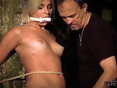 Tied up young slave endures punishment in twaney peaks fuck