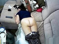 Hidden cam in ceiling fan caught my tube butt sabah masturbation