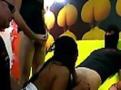 Extreme cumshots and bukkakes on ebony babe