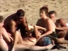 Group cum intense at a nudist beach